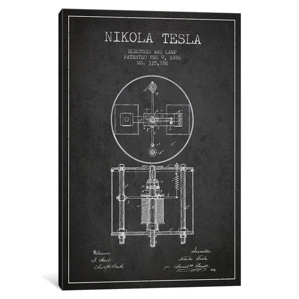 iCanvas Tesla Arc Lamp Charcoal Patent Blueprint by Aged Pixel Canvas Print