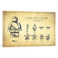 iCanvas Lego Vintage Patent Blueprint by Aged Pixel Canvas Print
