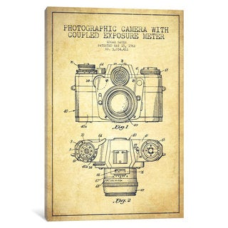 iCanvas Camera Vintage Patent Blueprint by Aged Pixel Canvas Print