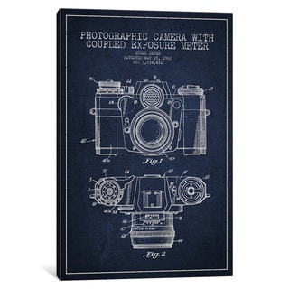 iCanvas Camera Navy Blue Patent Blueprint by Aged Pixel Canvas Print