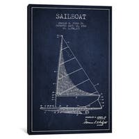 iCanvas Sailboat 2 Navy Blue Patent Blueprint by Aged Pixel Canvas Print