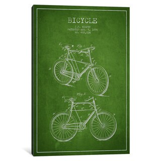 iCanvas Bike Green Patent Blueprint by Aged Pixel Canvas Print