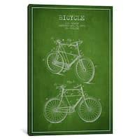 iCanvas Bike Green Patent Blueprint by Aged Pixel Canvas Print