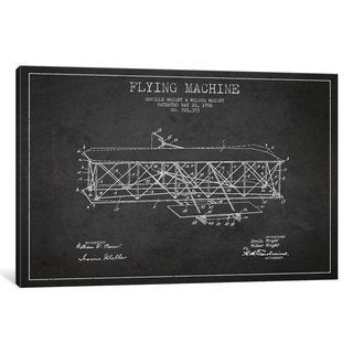 iCanvas Airplane Charcoal Patent Blueprint by Aged Pixel Canvas Print