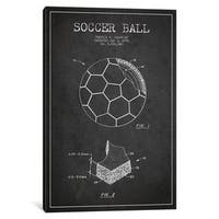 iCanvas Brantley Soccer Ball Charcoal Patent Blueprint by Aged Pixel Canvas Print
