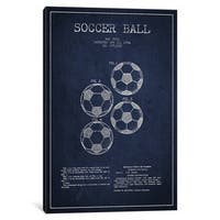 iCanvas Soccer Ball Navy Blue Patent Blueprint by Aged Pixel Canvas Print