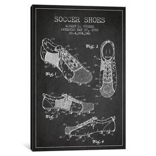 iCanvas Soccer Shoe Charcoal Patent Blueprint by Aged Pixel Canvas Print