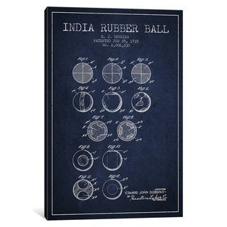 iCanvas India Rubber Ball Navy Blue Patent Blueprint by Aged Pixel Canvas Print