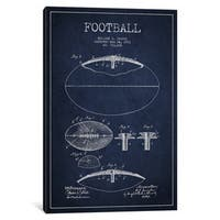 iCanvas Football All Navy Blue Patent Blueprint by Aged Pixel Canvas Print