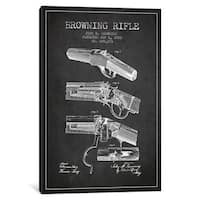 iCanvas Browning Rifle Charcoal Patent Blueprint by Aged Pixel Canvas Print