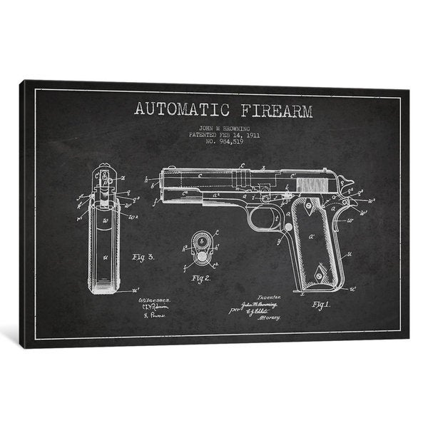 iCanvas Auto Firearm Charcoal Patent Blueprint by Aged Pixel Canvas Print