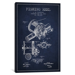 iCanvas Fishing Reel Navy Blue Patent Blueprint by Aged Pixel Canvas Print