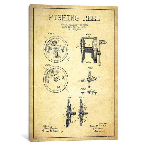 iCanvas Fishing Reel Vintage Patent Blueprint by Aged Pixel Canvas Print