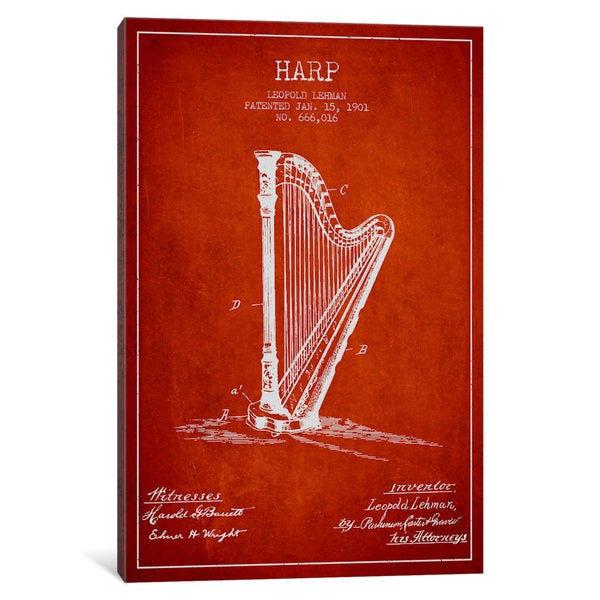 iCanvas Harp Red Patent Blueprint by Aged Pixel Canvas Print