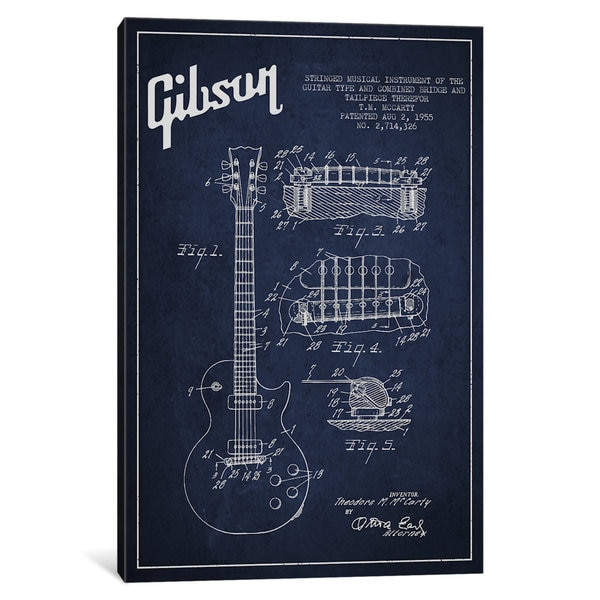 iCanvas Gibson Guitar Blue Patent Blueprint by Aged Pixel Canvas Print