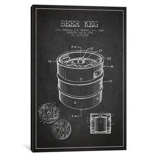 iCanvas Keg Charcoal Patent Blueprint by Aged Pixel Canvas Print