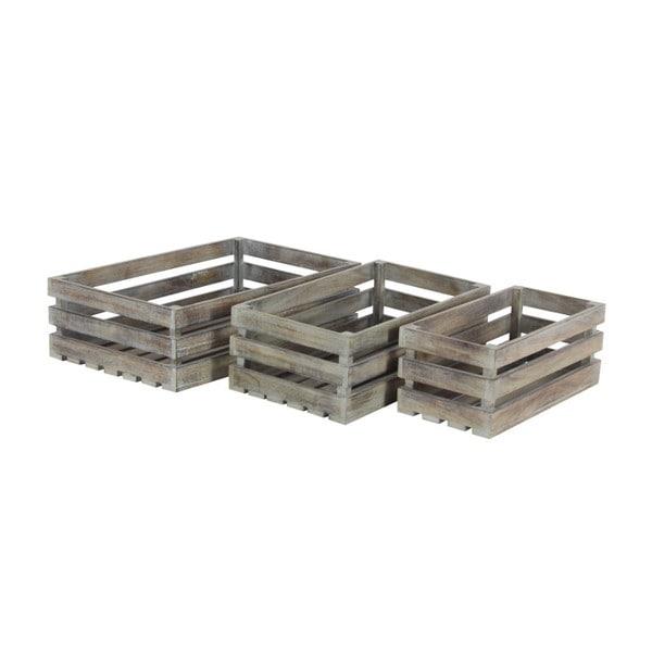 Grey Wood Crate Barrel Tray (Set Of 3)