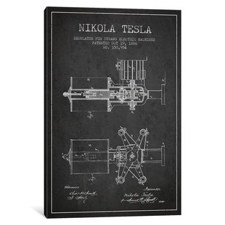 iCanvas Tesla Regulator Charcoal Patent Blueprint by Aged Pixel Canvas Print