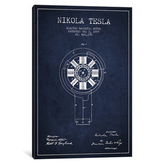 iCanvas Tesla Electromagnetic Navy Blue Patent Blueprint by Aged Pixel Canvas Print