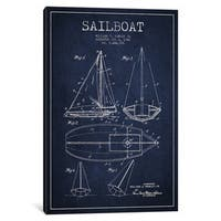 iCanvas Sailboat Navy Blue Patent Blueprint by Aged Pixel Canvas Print