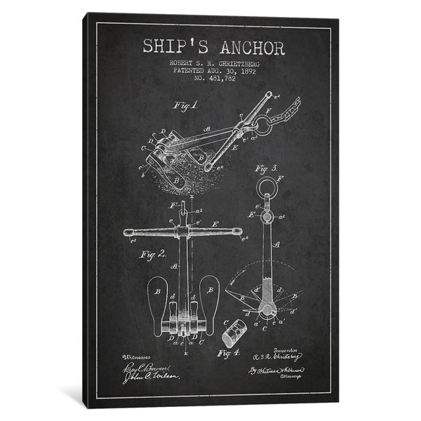 iCanvas Anchor Charcoal Patent Blueprint by Aged Pixel Canvas Print