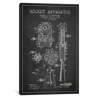 iCanvas Rocket Apparatus Charcoal Patent Blueprint by Aged Pixel Canvas Print