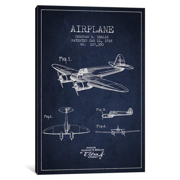 iCanvas Plane Navy Blue Patent Blueprint by Aged Pixel Canvas Print