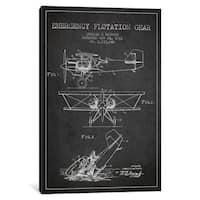iCanvas Float Plane Charcoal Patent Blueprint by Aged Pixel Canvas Print