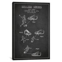 iCanvas Cohen Soccer Shoe Charcoal Patent Blueprint by Aged Pixel Canvas Print