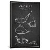iCanvas Golf Club Charcoal Patent Blueprint by Aged Pixel Canvas Print