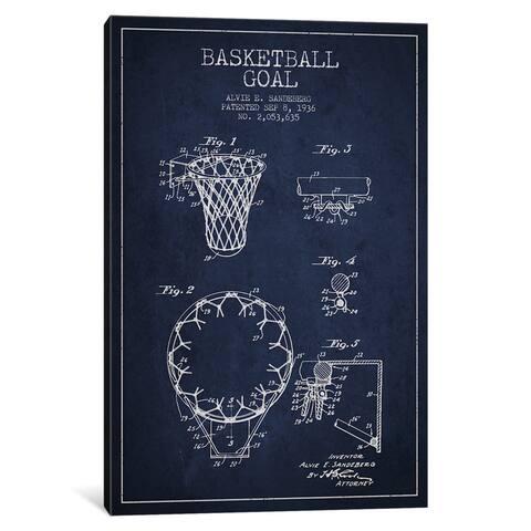 iCanvas Basketball Goal Navy Blue Patent Blueprint by Aged Pixel Canvas Print
