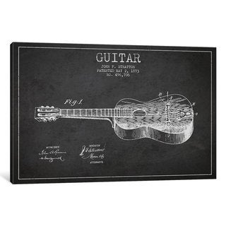 iCanvas Guitar Charcoal Patent Blueprint by Aged Pixel Canvas Print