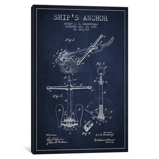 iCanvas Anchor Navy Blue Patent Blueprint by Aged Pixel Canvas Print