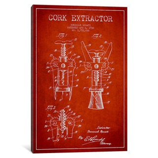 iCanvas Corkscrew Red Patent Blueprint by Aged Pixel Canvas Print