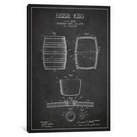 iCanvas Keg Charcoal Patent Blueprint by Aged Pixel Canvas Print