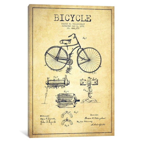 iCanvas Bike Vintage Patent Blueprint by Aged Pixel Canvas Print