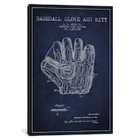 iCanvas Baseball Glove Navy Blue Patent Blueprint by Aged Pixel Canvas Print