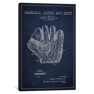 iCanvas Baseball Glove Navy Blue Patent Blueprint by Aged Pixel Canvas Print