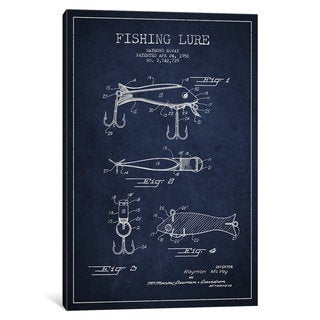 iCanvas Fishing Tackle Navy Blue Patent Blueprint by Aged Pixel Canvas Print