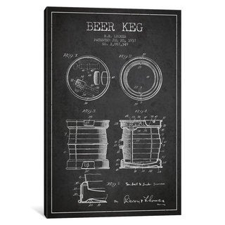 iCanvas Beer Keg Charcoal Patent Blueprint by Aged Pixel Canvas Print