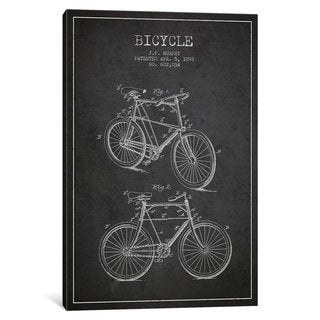 iCanvas Bike Charcoal Patent Blueprint by Aged Pixel Canvas Print