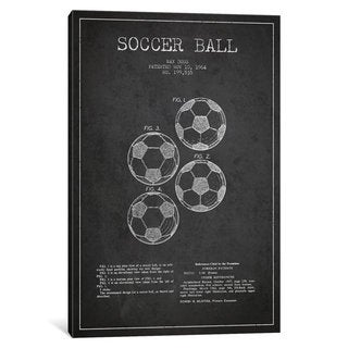 iCanvas Soccer Ball Charcoal Patent Blueprint by Aged Pixel Canvas Print