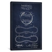 iCanvas Baseball Navy Blue Patent Blueprint by Aged Pixel Canvas Print
