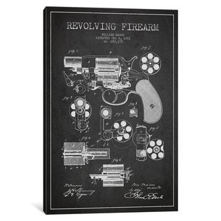 iCanvas Revolving Firearm Charcoal Patent Blueprint by Aged Pixel Canvas Print