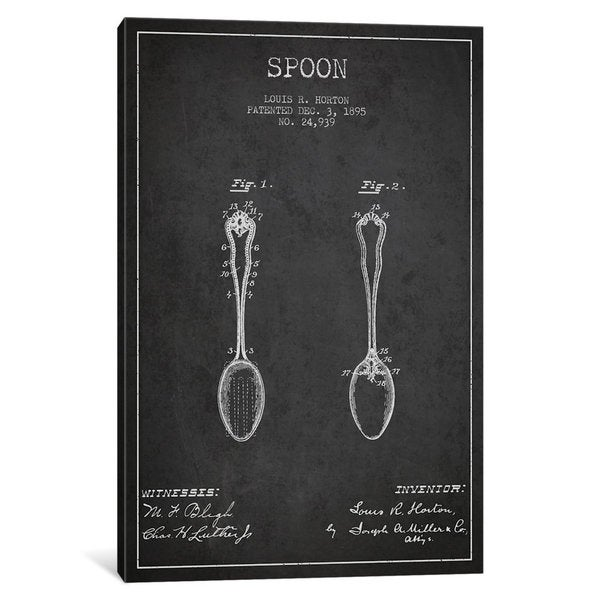iCanvas Spoon Charcoal Patent Blueprint by Aged Pixel Canvas Print