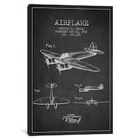 iCanvas Plane Charcoal Patent Blueprint by Aged Pixel Canvas Print