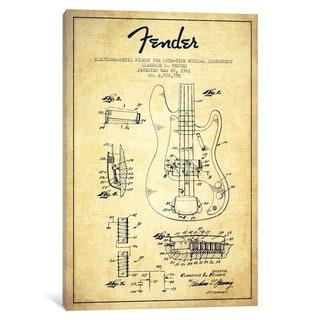 iCanvas Guitar Vintage Patent Blueprint by Aged Pixel Canvas Print