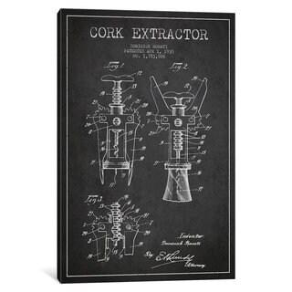iCanvas Corkscrew Charcoal Patent Blueprint by Aged Pixel Canvas Print