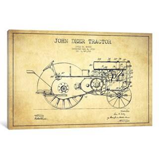 iCanvas John Deer Vintage Patent Blueprint by Aged Pixel Canvas Print