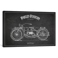 iCanvas Harley-Davidson Charcoal Patent Blueprint by Aged Pixel Canvas Print